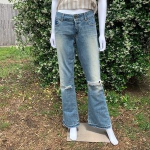 A&F Distressed Sanded Raw Patched Light Wash Jeans